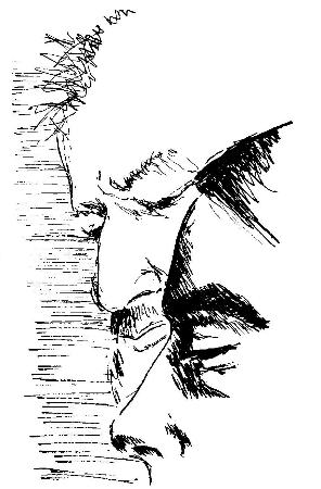 Albert Huffstickler and Robert Bogan, Austin c. 1974, drawing by Cecile Kunz Bogan